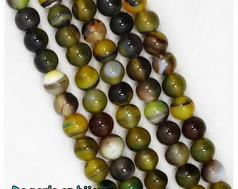 Banded agate 6mm black yellow striped White transparent bead semi precious gemstone 6 mm ribbed striped