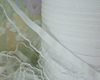 """3yds Elastic Ruffle Ribbon White Organza single side 3/4"""" inch Wide Stretch Trim diy wedding bridal Garter Elastic by the yard"""