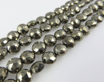 "6mm - 7mm Round Coin Faceted Pyrite Beads - 10"" Strand - Approx. 40 Beads"