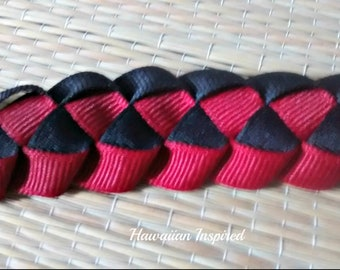 """54"""" Ribbon Lei: Grosgrain Red and Black"""