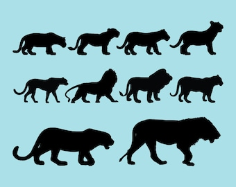 SVG | DXF | PNG Cut Files, Silhouette Tigers Cutting File, Silhouette Lions Tigers Svg Files, Silhouette Tiger Cricut File, Instant Download