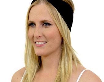 Organic Black Twist Headband   Fashionable, non-slip, premium-grade organic cotton head wrap. Oh-so-comfy yoga headband & running headwrap.