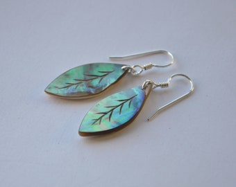 NewZealand Paua Shell & sterling silver leaf earrings