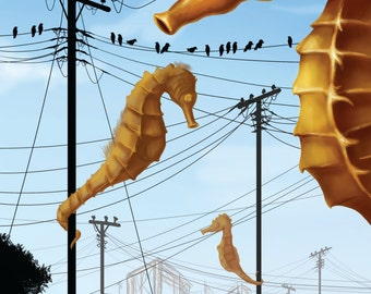 Seahorses and Power Lines Print