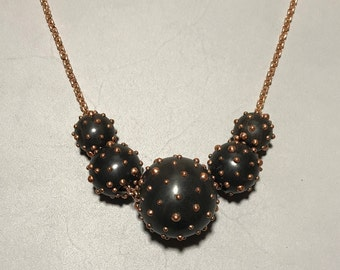 """36"""" Rose Gold Plated Brass Studded Rosewood Ball Necklace"""