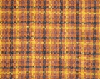 Plaid Fabric | Homespun Fabric | Rag Quilt Fabric | Rustic Fabric | Craft Fabric | Sewing Fabric | Khaki Wine And Black Plaid Fabric