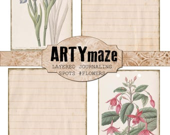 FLOWER THEMED Layering JOURNALING cards/ephemera