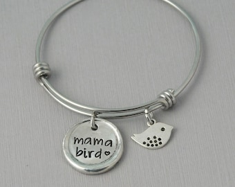 Mama Bird Bangle Bracelet, silver charm bracelet, mama bird, personalized