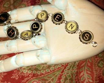 Vintage typewriter key bracelet Shift happens