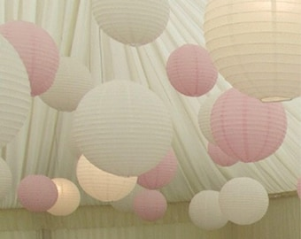 9x White & Pink Paper Lanterns with LED Bulbs Lights Wedding Engagement Anniversary Girl 21th Birthday Party Hanging Lighting Decoration