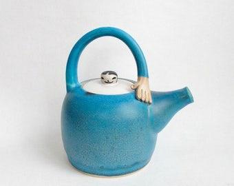 Stoneware Hand Thrown Turquoise Teapot. Lady Teapot. In stock.