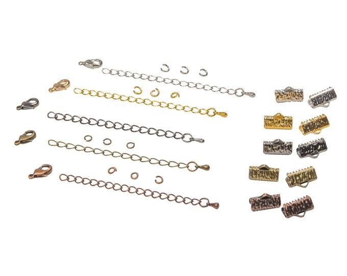 13mm  ( 1/2 inch ) Ribbon Choker or Ribbon Bracelet Findings Kit - Bronze, Gold, Silver, Gunmetal, Copper or Mixed - Artisan & Dots Series