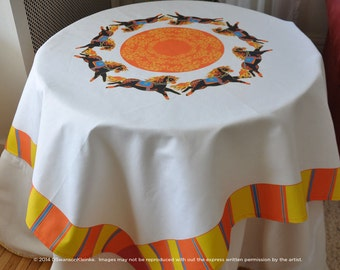 Horse Year Table Cloth, Chinese New Year Table linen, Spring Festival
