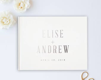 Silver Foil Wedding Guest Book, Pink Wedding Album, Wedding Guest Books, Foil, Personalized Names Hardcover, Custom Guestbooks Personalized
