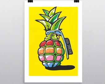 Pineapple Grenade A3 POP ART PRINT