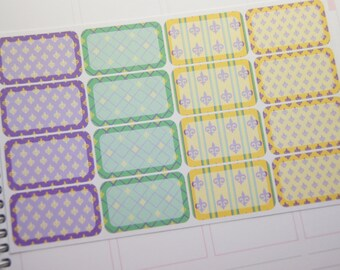 16 Planner Stickers Half Box Mardi Gras Planner Stickers eclp PS367f Fits Erin Condren Planners