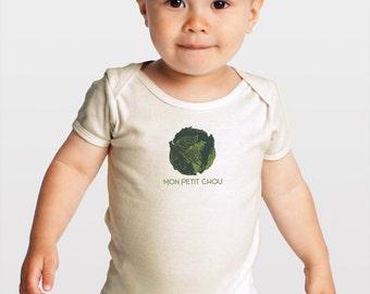 Last Chance! Mon Petit Chou -- Screenprinted Organic Cotton Baby Romper