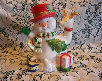 Adorable Lighted Snowman and Reindeer Figurine