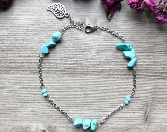 Anklet, turquoise stone, turquoise beads, pearls, stainless steel, silver feather charm, chain extens chain
