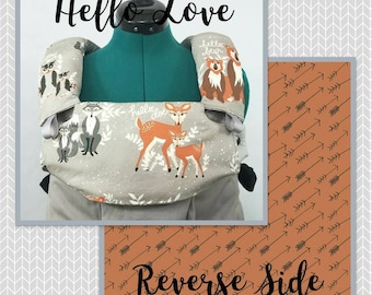 Pre-Order ** Hello Love, Woodland Animals Lillebaby Carrier Headrest Bib w/ Straight Drool Pads, Fully Reversible 3 Pc. Set