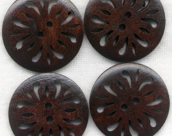 Lacy Buttons Cut Out Filigree Wooden Buttons 30mm (1 1/4 inch) Set of 8 /BT252B