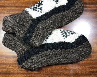 Handmade Yak Wool Slippers/Booties- Design 89