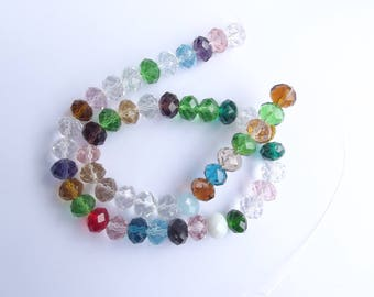 New! 50 multicolored faceted Crystal rondelle 8 x 10 mm OKTI-209