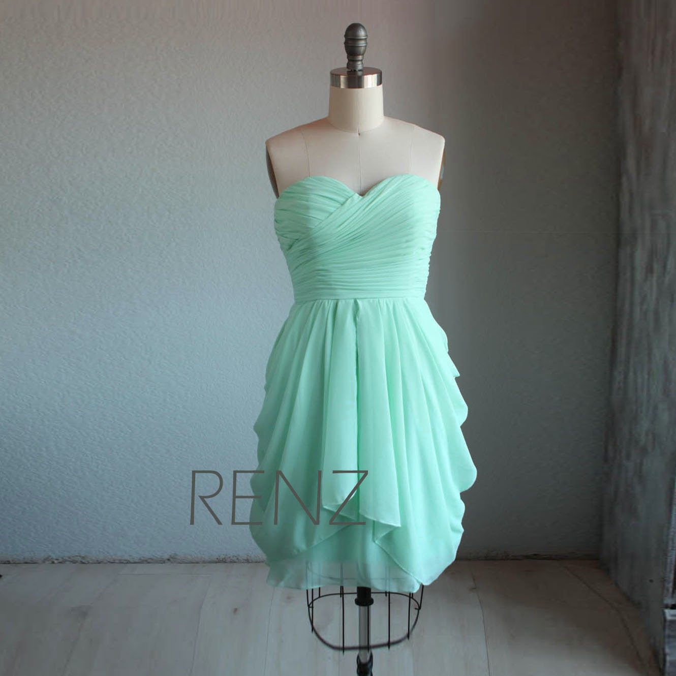 Bright Mint Bridesmaid DressShort Wedding DressStrapless