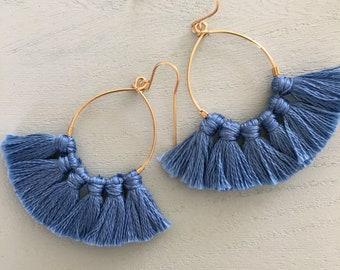 Blue slat tassle hool earrings /goldfilled earrings