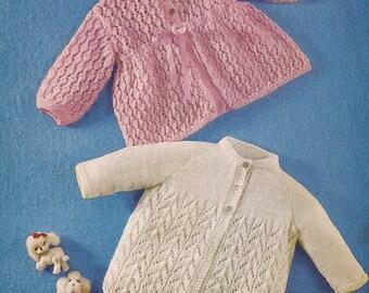 Knitted Baby Matinee Coats Knitting Pattern PDF (Q67)