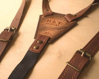Leather suspenders Personalized leather suspenders Wedding suspenders with initials Groom suspenders Wedding Suspenders width - 3\4""