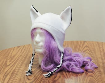 White Fox Kitsune - Fleece Cosplay Aviator Hat Braided Tassel