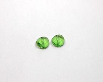 2 Peridot Swarovski Twist Bead, 14mm Swarovski Crystal Twist Beads, Jewelry Making, Jewelry Supplies, Craft Supplies