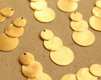 8 pc. Raw Brass Tiered Circle Charms: 33mm by 16mm - made in USA | RB-678