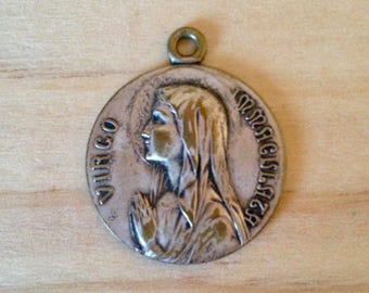 Vintage Medal of the Blessed Virgin Mary of Lourdes 'Virgo Immaculata'