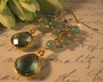 Green Jade Cluster Earrings, gemstone earrings, gold earrings, jade earrings, green jade earrings, dangle earrings