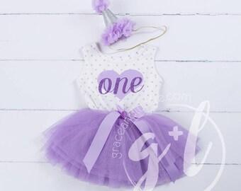 First Birthday outfit, First Birthday Dress, Purple birthday outfit, 1st birthday outfit, polka dots, heart, purple glitter