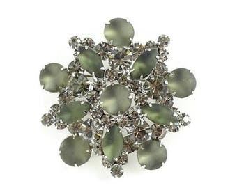 Juliana Frosted Cabochon Black Diamond Rhinestone Pin Brooch DeLizza & Elster