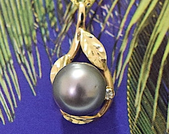 Tahitian Pearl Pendant, 14KT Yellow Gold Tahitian Pearl Pendant With Maile Leaf and 1 Diamond, P5017,  Made in Hawaii