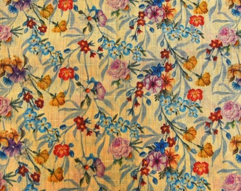 Mother's Day Women's day Sky Blue and Yellow Floral Digital Print On Beige Silk FabrIc-24006