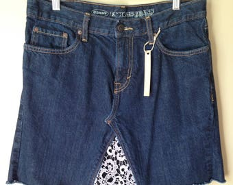 Upcycled Denim - Jean Skirt - Size 10