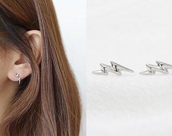 Sterling Silver Stud Earrings, Lightning Bolt Earrings, Thunderbolt Earrings, Simple Studs, Minimalist Earrings, Unique Gift for Her