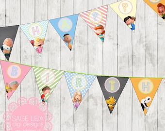 Custom Printable Snoopy Peanuts & Friends Themed Girl Pastel Birthday Celebration Party Triangle Pennant Bunting Banner