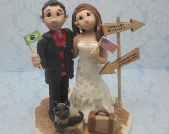 Travel Themed wedding cake topper, Custom wedding cake topper, personalized cake topper, Bride and groom cake topper, Mr and Mrs cake topper