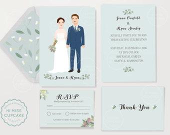 Portrait Wedding Invitation Suite // Custom Wedding Portrait Invitation Set / Custom Portrait Wedding Invitation / Digital file
