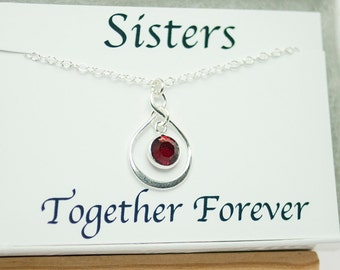 Gift for Sister Necklace Infinity Necklace Together Forever Eternity Birthstone Necklace with Card July Birthday Necklace January Birthday