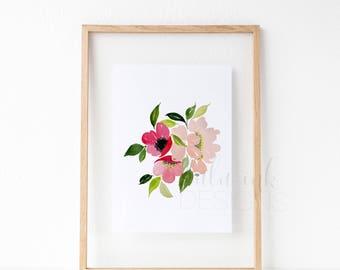 Anemone Watercolor | Watercolor Print | Anemone Watercolor Print | Anemone Bunch Print | Minimalist Art Print | Modern Watercolor Print