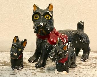 Vintage, Chalkware, Scotty Dog, Set of Three