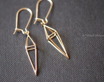 Long Diamond Cage Earrings - Natural Bronze 3D Pendants - 14k Gold Filled Earwires - Insurance Included
