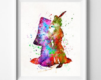 Robin Hood Poster, Robin Hood Art, Robin Hood Gift, Maid Marian Print, Watercolor Art, Childrens Room, Disney Poster, Fathers Day Gift